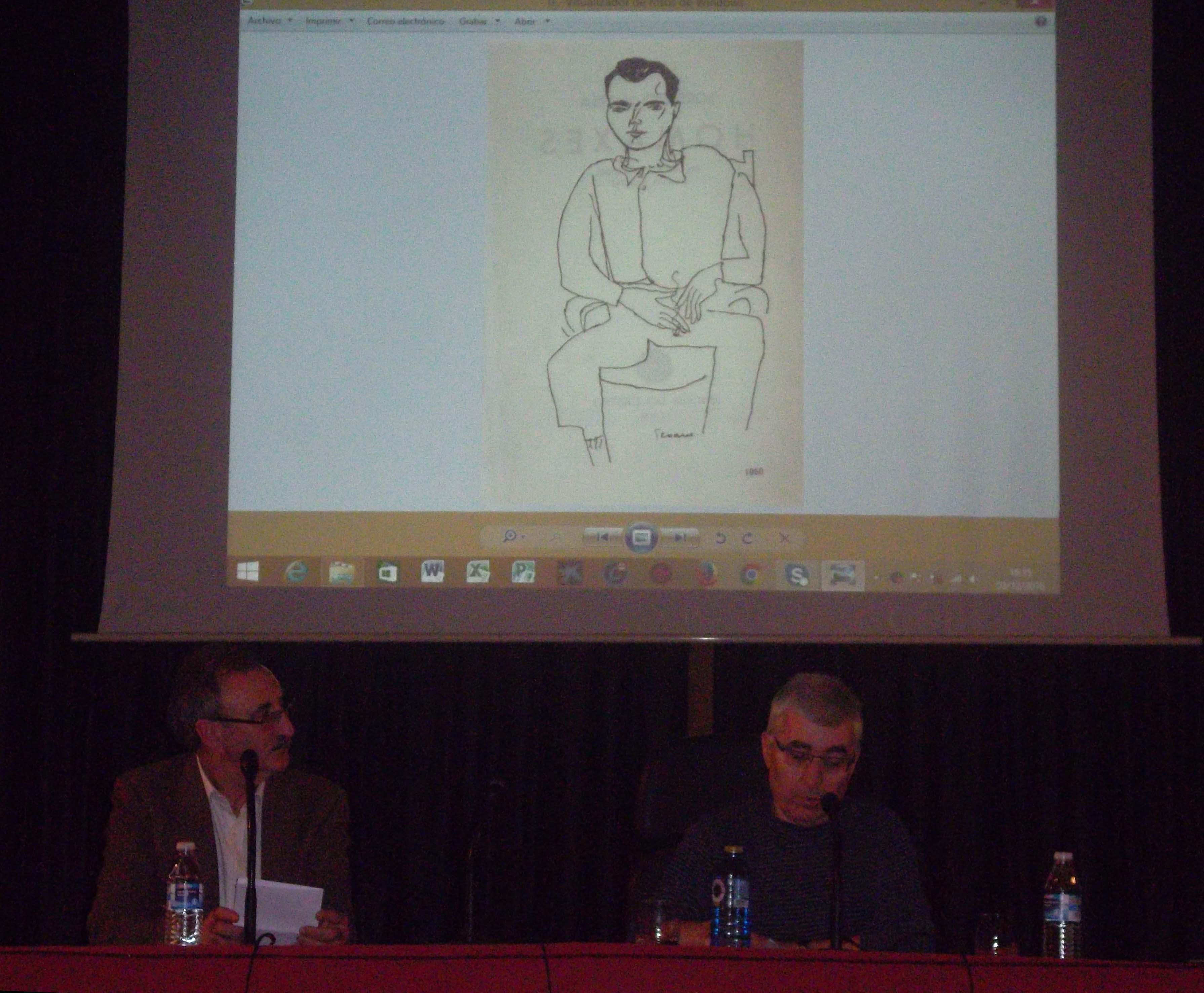 Conferencia de Xosé Carlos López Bernárdez. Ao seu carón Carlos Vázquez García