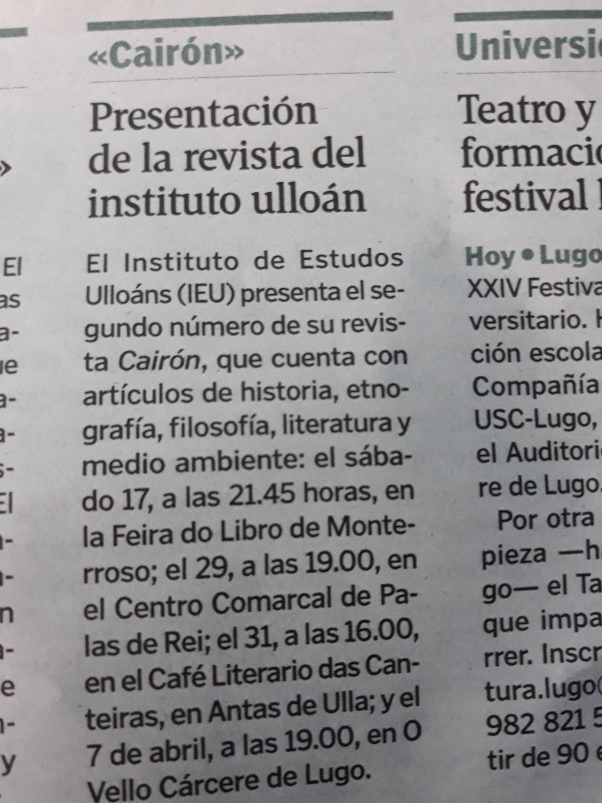 La Voz de Galicia 15-3-2018