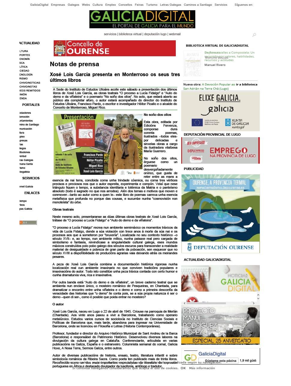 Presentacion libro Xosé Lois en Galicia Digital