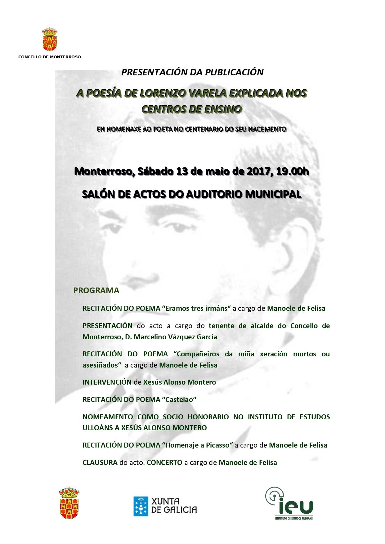 Presentación A poesía de Lorenzo Varela explicada nos centros de ensino, Instituto de estudos Ulloáns, IEU, 2017_page-0001