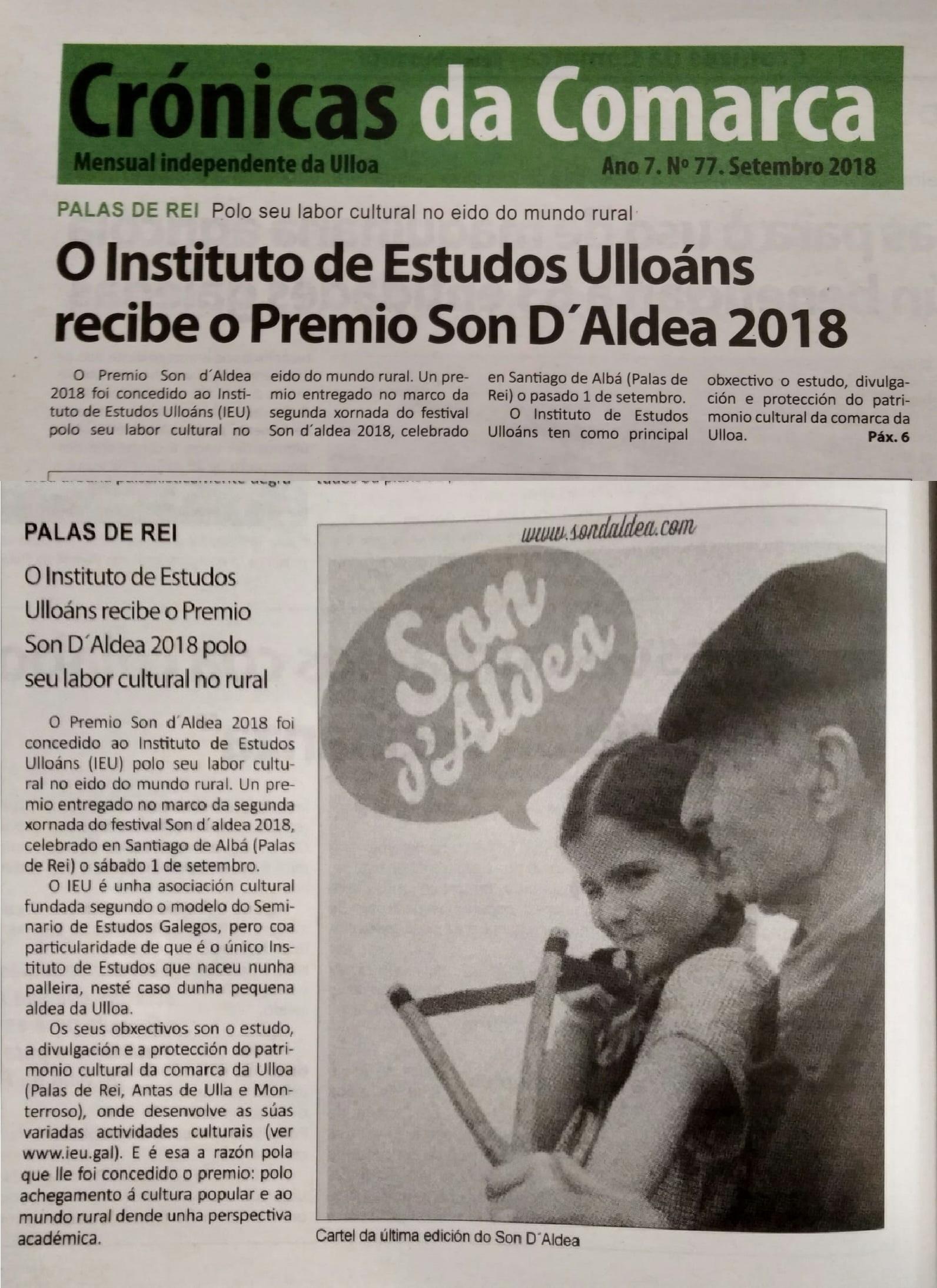 Premio Son daldea 2018 ao Instituto de Estudos Ulloáns