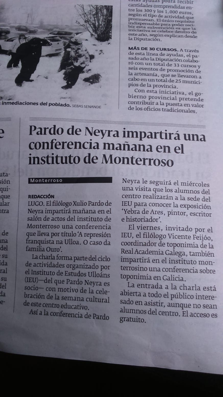 Colaboracións do Instituto de Estudos Ulloáns co IES de Monterroso, El Progreso 8-4-2019
