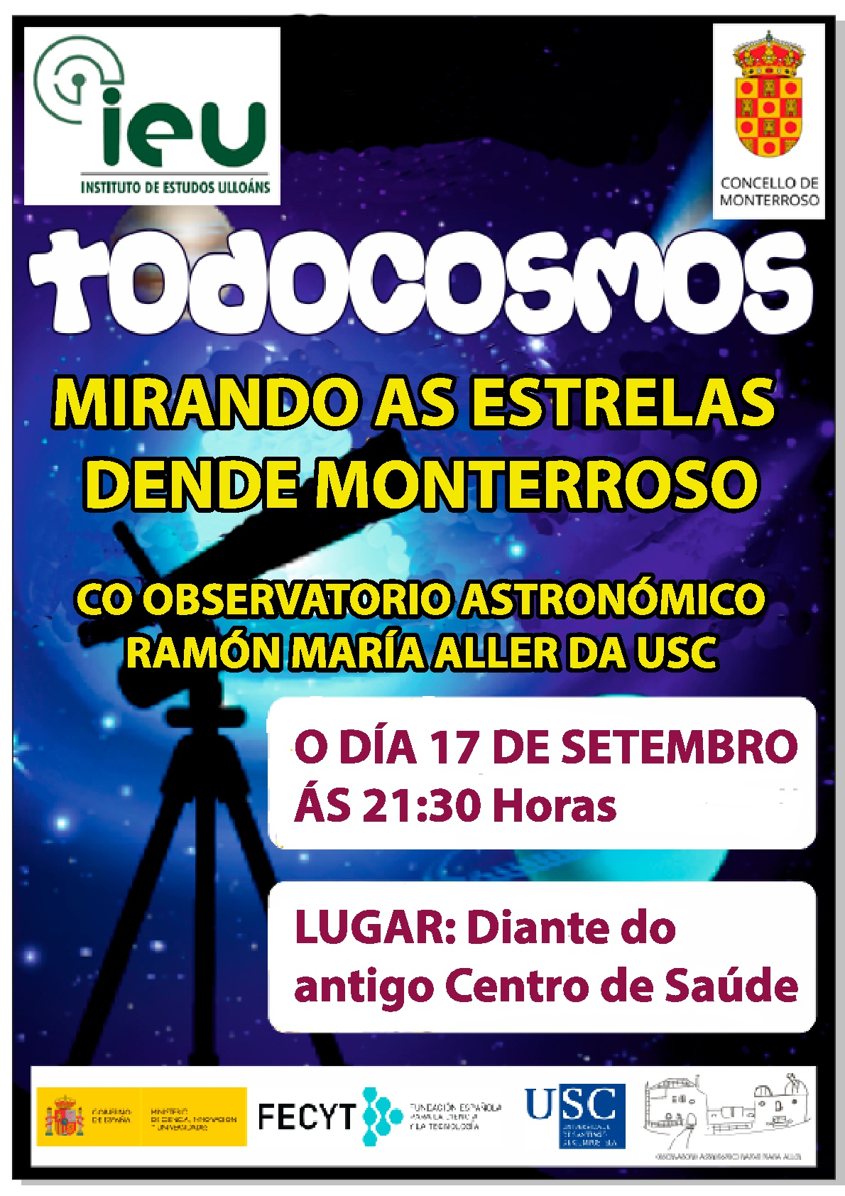 Todocosmos 17-9-2018, Observatorio Astronómico Ramón María Aller, Instituto de Estudos Ulloáns, IEU