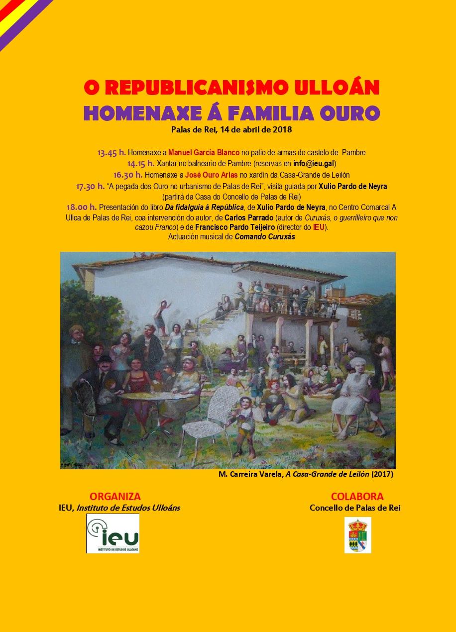 Xornada Homenaxe Familia Ouro 14-4-2018, Xulio Pardo de Neira, Francisco Pardo, Instituto de Estudos Ulloáns, IEU