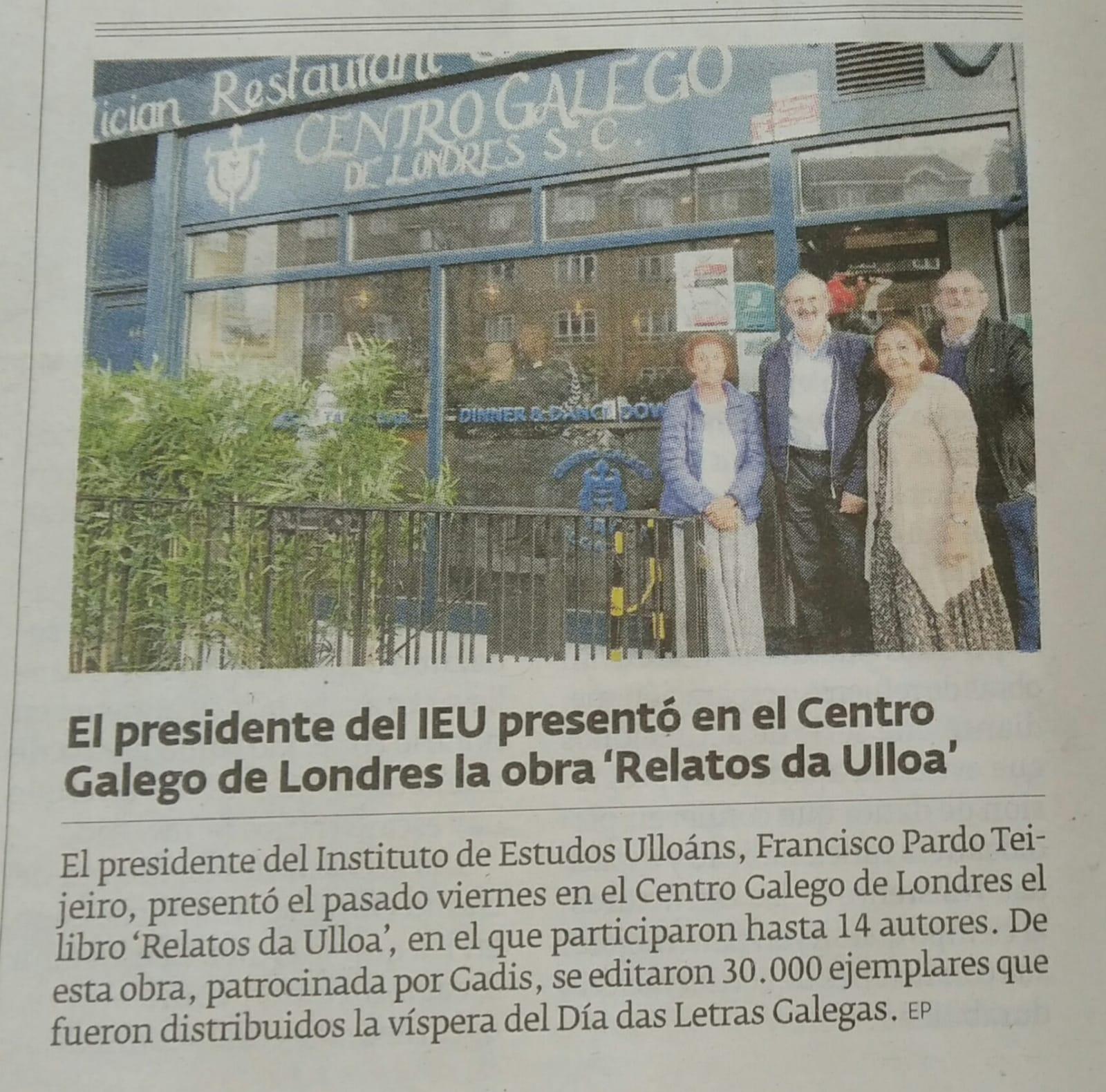 El Progreso 11 set 2019, Presentación Relatos da Ulloa no Centro Galego de Londres, Instituuto de Estudos Ulloáns