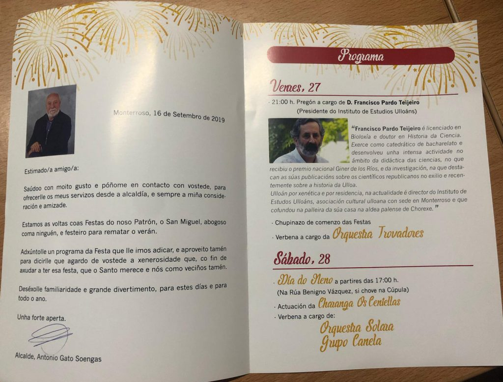 programa festas San Miguel Monterroso 2019, Concello de Monterroso, Instituto de Estudos Ulloáns