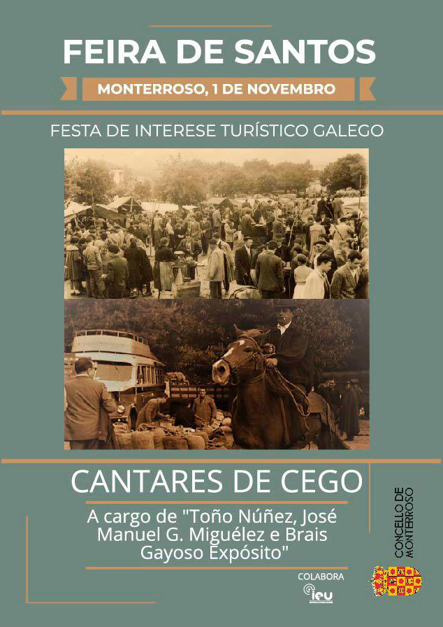 cartaz Cantares de Cego, Feira de Santos, Monterroso, Instituto de Esudos Ulloáns IEU