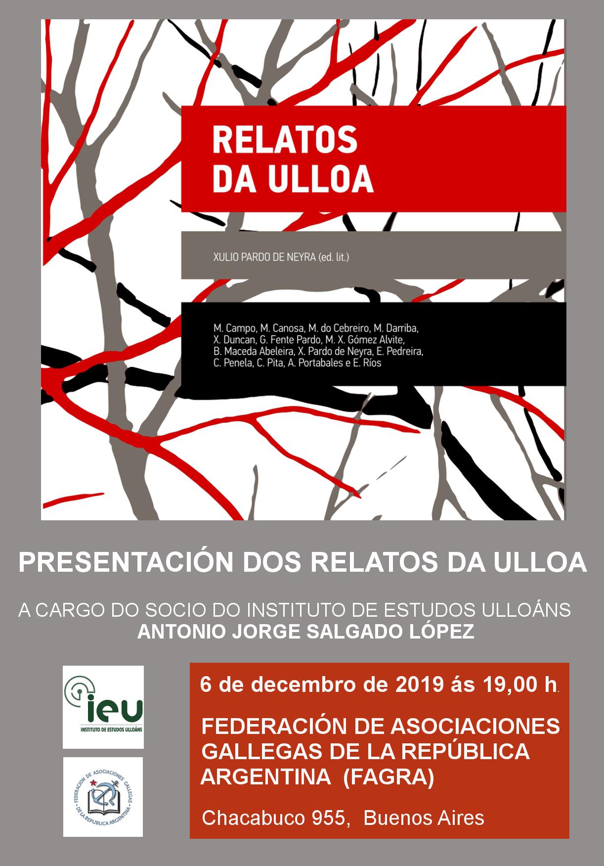Presentación Relatos Ulloa en Buenos Aires, IEU, Instituto de Estudos Ulloáns