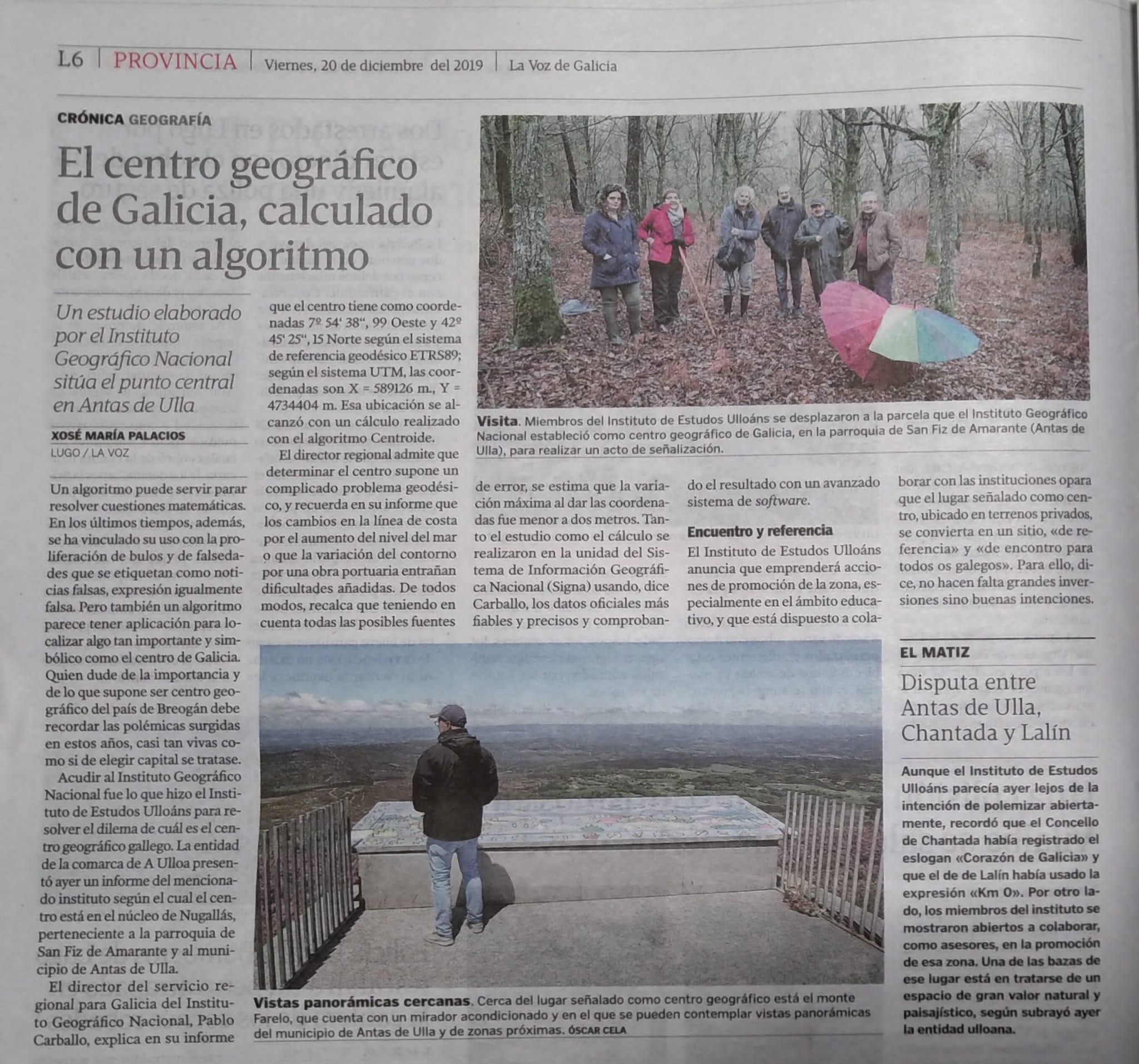 centro xeografico, La Voz Galicia, Instituto de Estudos Ulloáns
