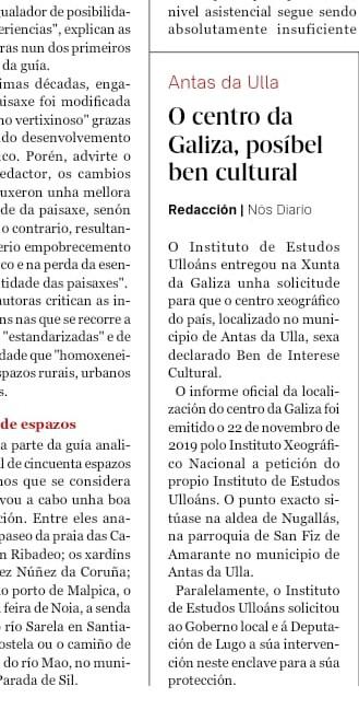 Centro Xeográfico de Galicia, BIC, Instituto de Estudos Ulloáns, Nos diario