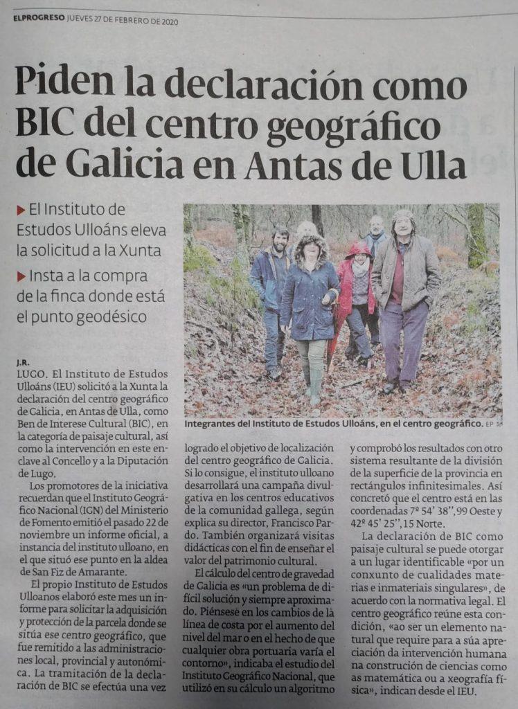 Centro Xeográfico de Galicia, Ben Interese Cultural, Instituto de Estudos Ulloáns, El Progreso
