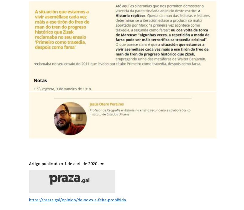 De novo a feira prohibida 2, Xesús Otero Pereiras, Praza Pública