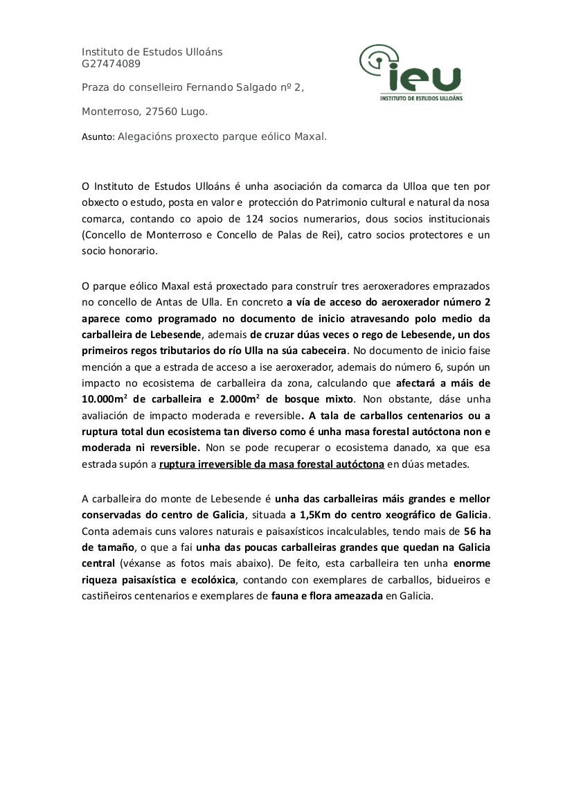 Alegacións do IEU ao proxecto Parque Eólico Maxal (1)