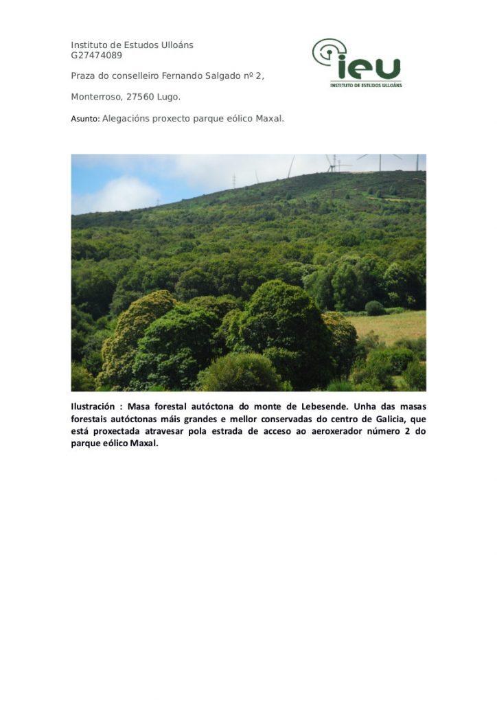 Alegacións do IEU ao proxecto Parque Eólico Maxal (2)