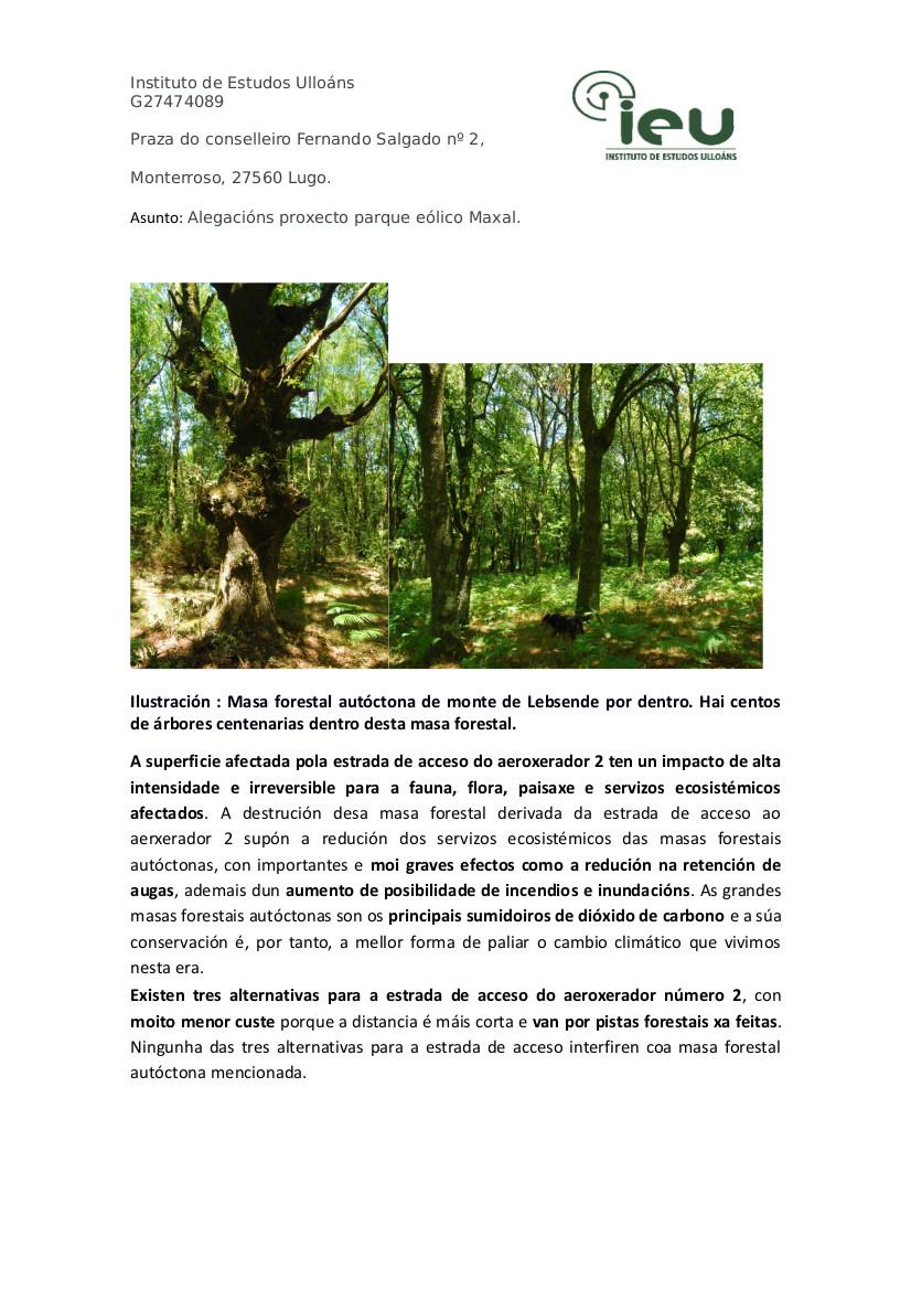 Alegacións do IEU ao proxecto Parque Eólico Maxal(3)
