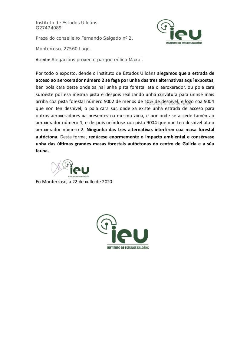 Alegacións do IEU ao proxecto Parque Eólico Maxal(8)