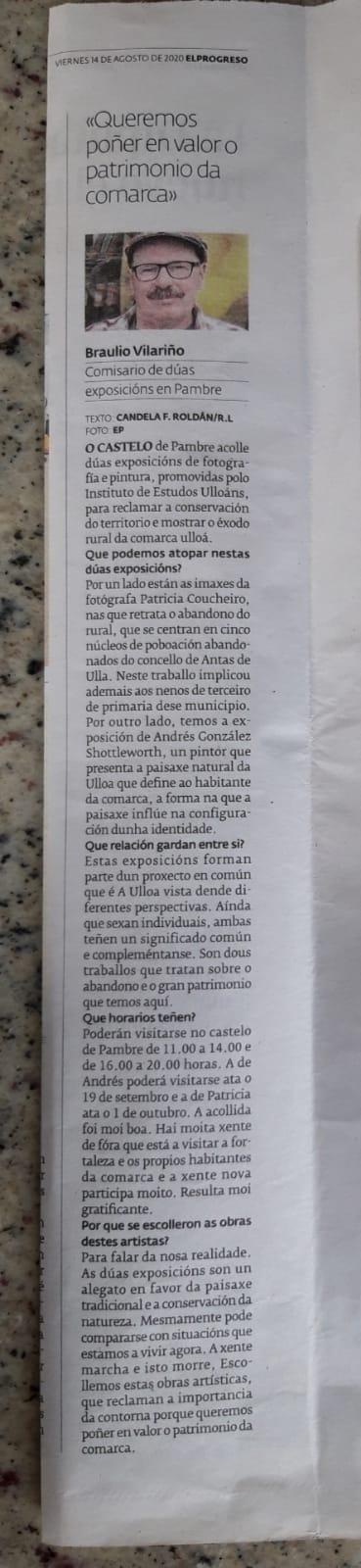 Exposicións Camiños que se pechan, Paisaxes de Antas de Ulla, en El Progreso, 14-8-2020