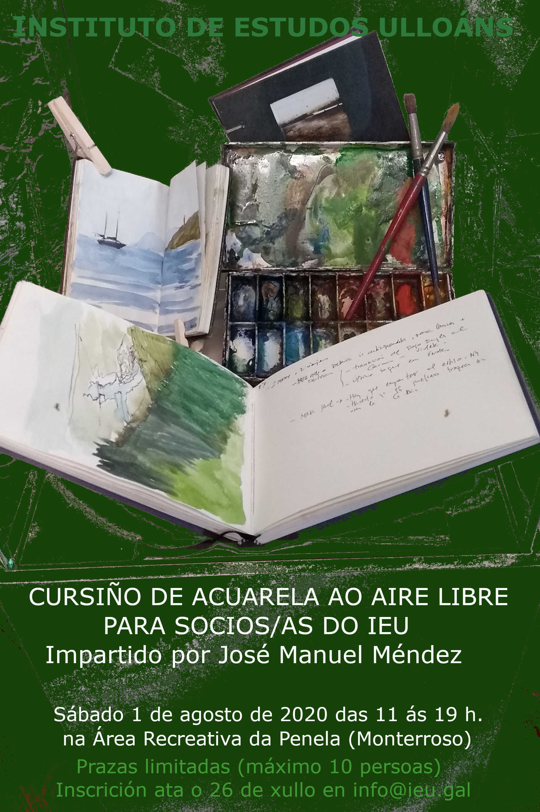cursiño acuarela, J M Méndez, Instituto de Estudos Ulloáns, Area Recreativa A Peneda, Monterroso