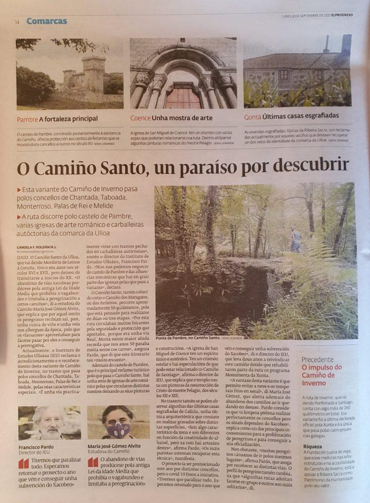 O IEU e o Camiño Santo, Candela Roldán, Instituto de Estudos Ulloáns, El progreso 21-9-2020