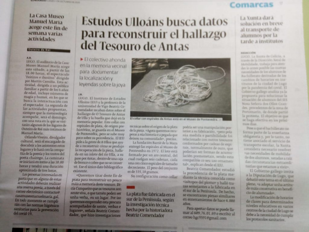 O IEU investiga o teouro de Antas (El Progreso 1-10-2020)