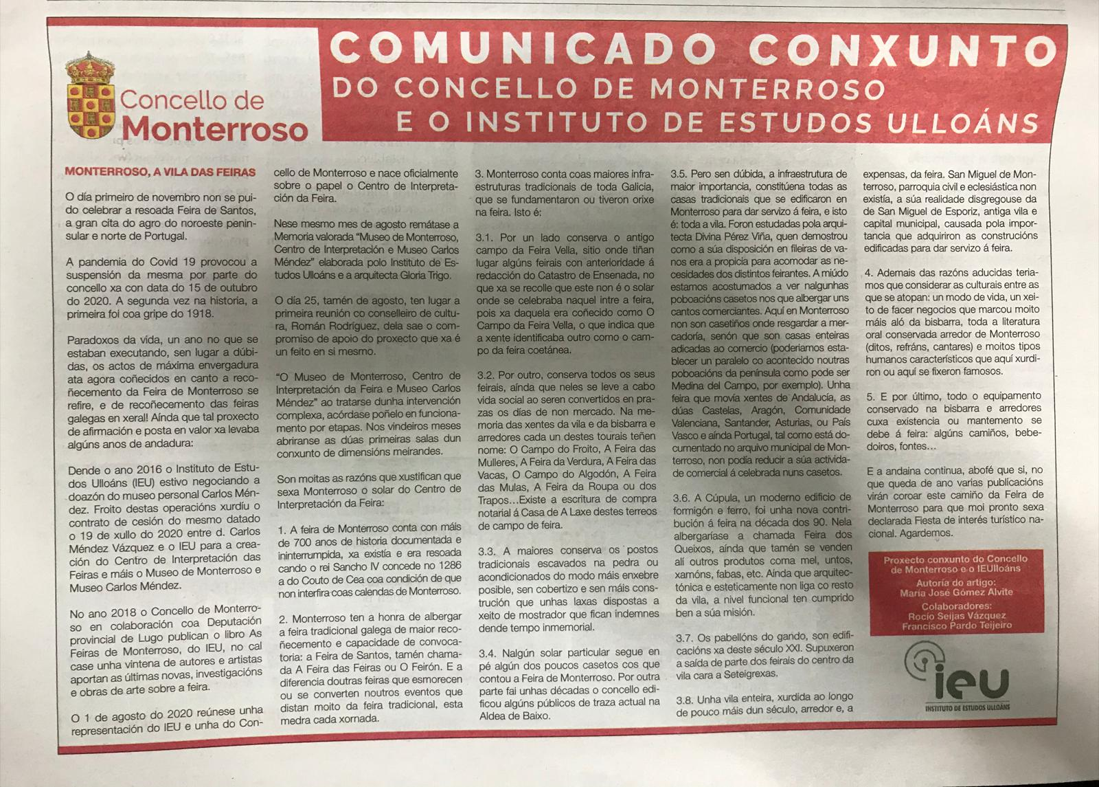 Comunicado Concello de Monterroso e Instituto de Estudos Ulloáns, María José Gómez Alvite, La Voz de Galicia 22-11-2021