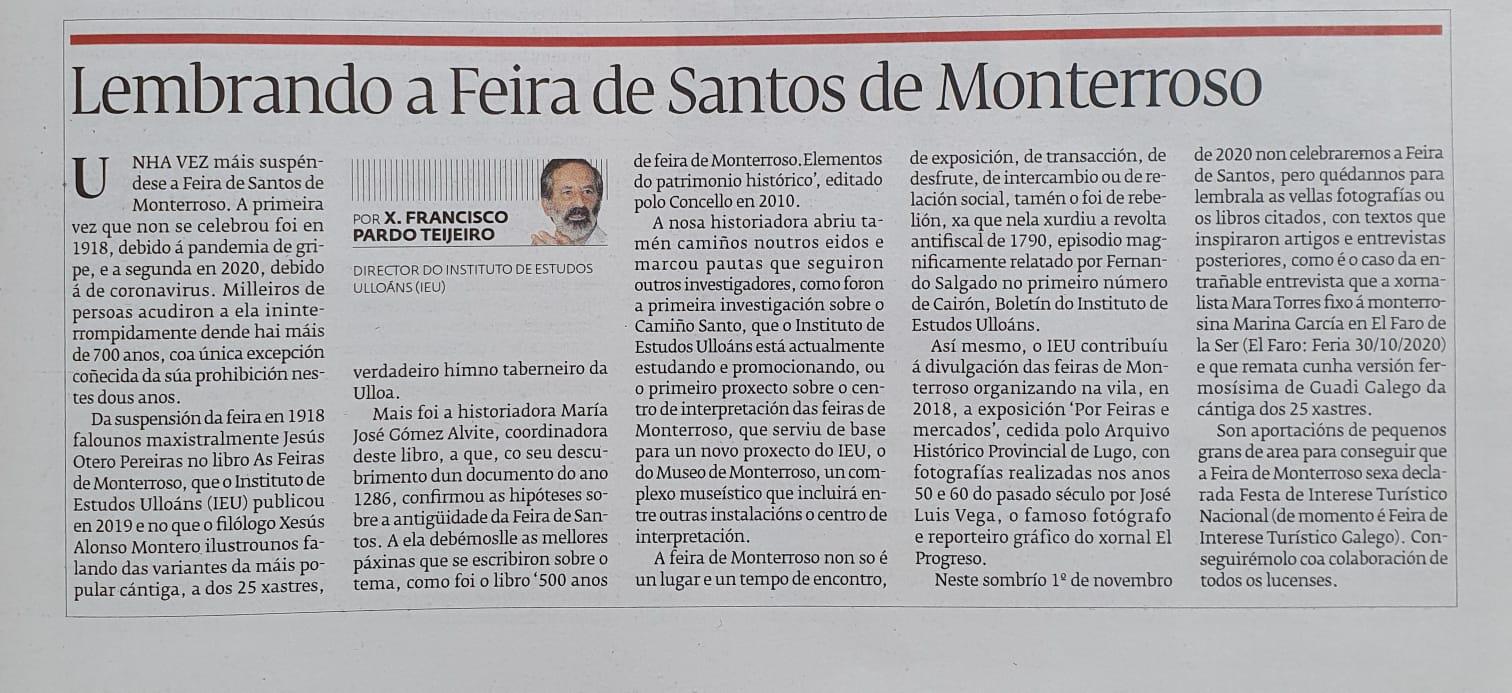 Lembrando a Feira de Santos de Monterroso, El Progreso 1-11-2020