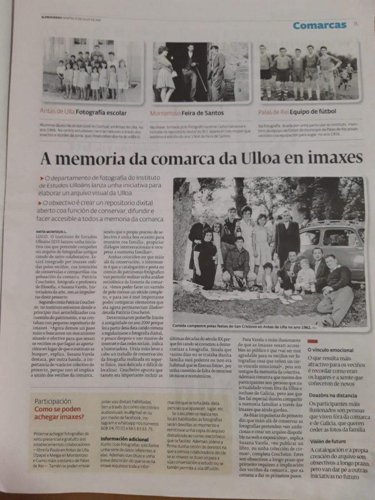 A memoria da comarca da Ulloa en imaxes (El Progreso 13-7-2021), Instituto de Estudos Ulloáns