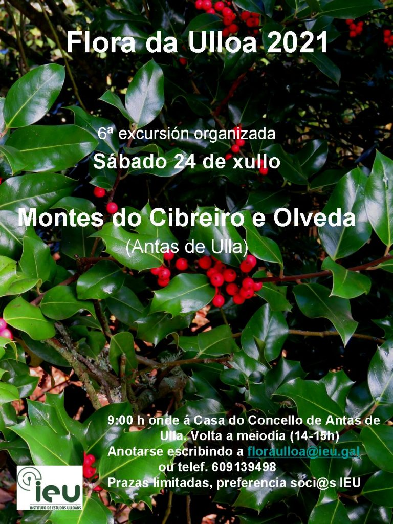 Excursión Flora da Ulloa 6ª-2021, Montes de Cibreiro e Olveda, Instituto de Estudos Ulloáns