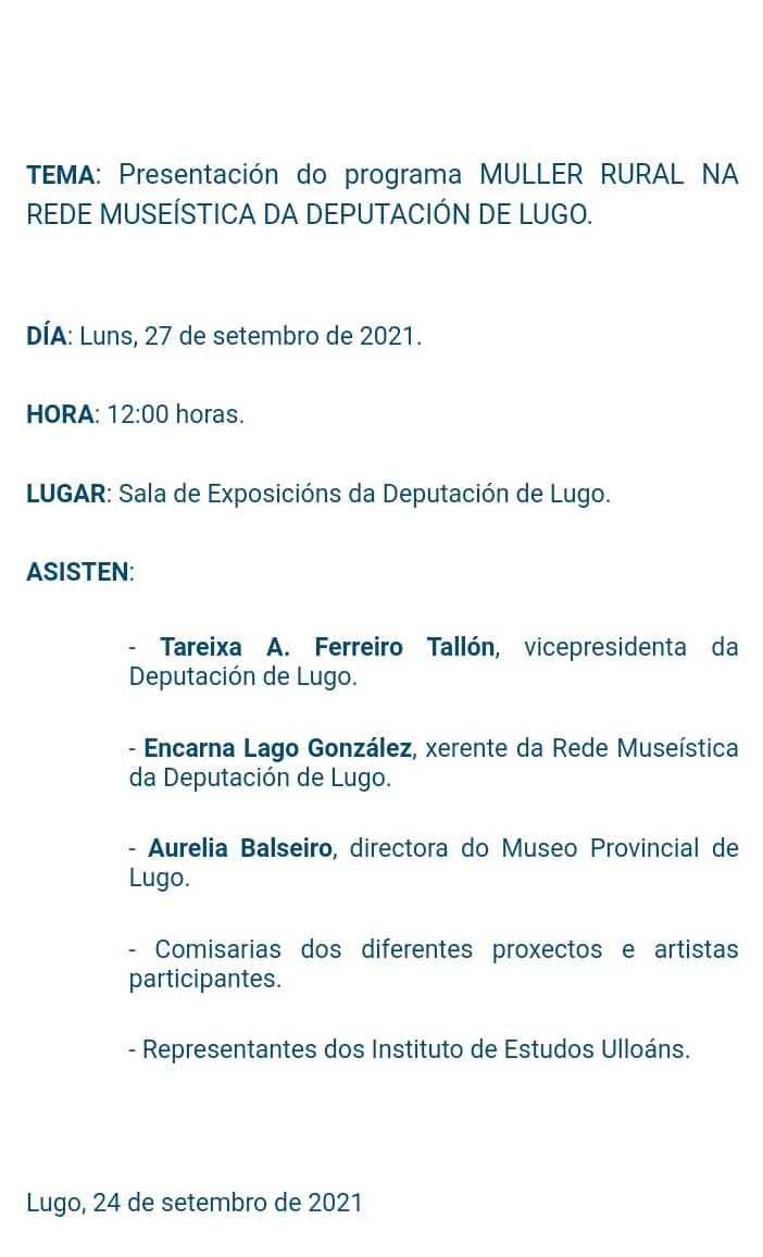 Presentacion actividades dia muller rural Deputación Lugo